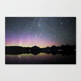 northern lights over lake mcdonald Canvas Print