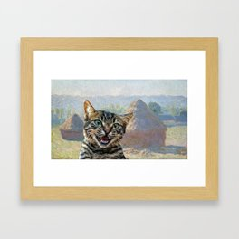 """Bengal Cat Interrupting """"Haystacks at the End of Summer, Morning Effect"""" by Claude Monet Framed Art Print"""