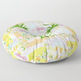 Floral Frame Collage Floor Pillow