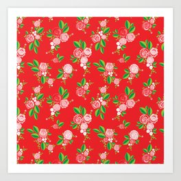 Red Summer Rose Art Print