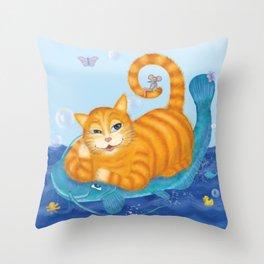 Orange tabby cat & blue catfish  Funny kids illustration Throw Pillow