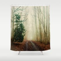 helen Shower Curtains featuring GHOST PATH by Catspaws