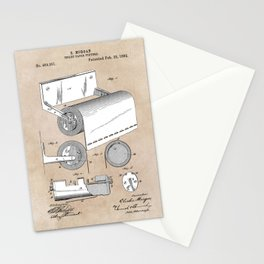 patent art Morgan Toilet paper fixture 1892 Stationery Cards
