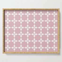 Droplets Pattern - Dusky Pink & White Serving Tray