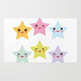 Kawaii stars, face with eyes, pink green blue purple yellow Rug