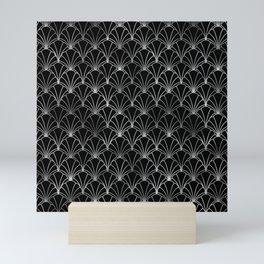 Scallop Shells in Black and Silver Art Deco Vintage Foil Pattern Mini Art Print