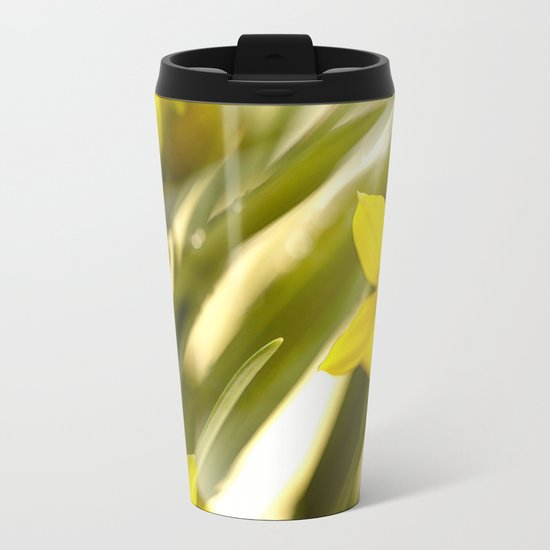 Spring atmosphere with yellow narcissus Metal Travel Mug