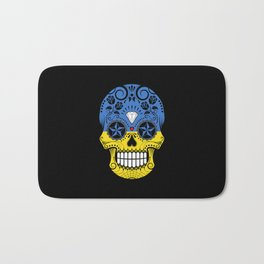 Sugar Skull with Roses and Flag of Ukraine Bath Mat