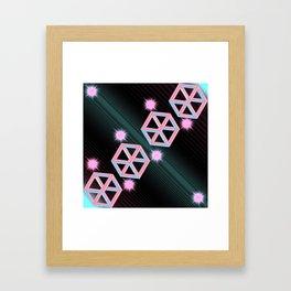 Neon Cubes Framed Art Print