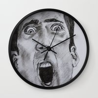 nicolas cage Wall Clocks featuring NICOLAS CAGE in CHARCOAL face/off face off film movie cult by Radiopeach