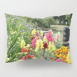 English Country Garden Scene Pillow Sham