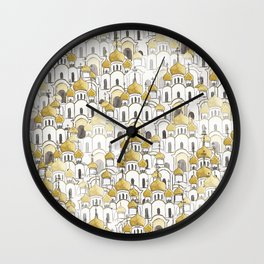 golden Russian cathedral church pattern Wall Clock