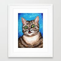 lil bub Framed Art Prints featuring Lil Bub - Cats with Moustaches by Megan Mars
