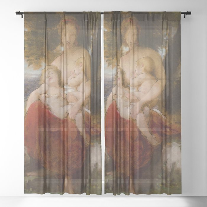 """William-Adolphe Bouguereau """"Study for Charity"""" Sheer Curtain"""