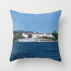 The Sagamore Hotel & Lac du Saint Sacrement Steamboat Throw Pillow