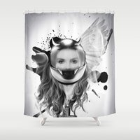 harley Shower Curtains featuring harley girl by mark ashkenazi