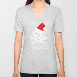 Christmas Pirate Santa Hat Unisex V-Neck