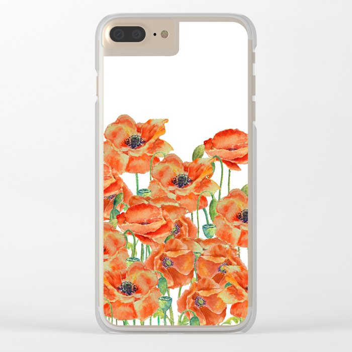 Watercolor poppy field illustration Clear iPhone Case