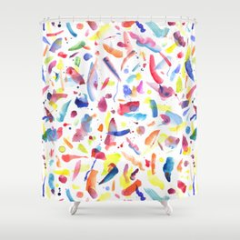 Abstract Painterly Brushstrokes Shower Curtain