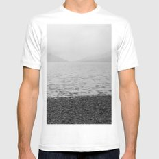 Mountains and the sea White MEDIUM Mens Fitted Tee