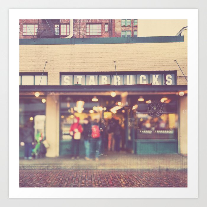 Seattle Starbucks Photograph A Star Is Born Art Print By