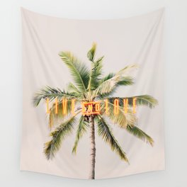 California palms, Beach art Live and Love Wall Tapestry