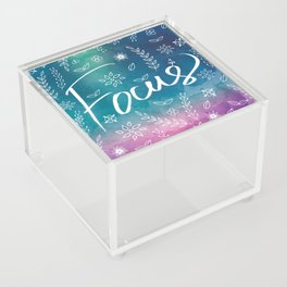 Blue Teal Purple Focus Meditation Spirituality Sucess Typography Floral Illustrations Quote Art Acrylic Box