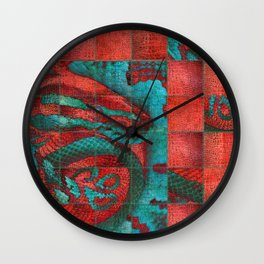 Abstract Red and Teal Snack on Leather Texture Wall Clock
