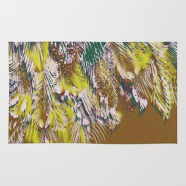 feather texture in yellow and green Rug