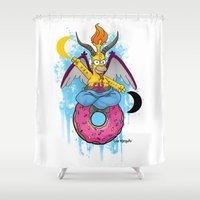 baphomet Shower Curtains featuring Baphomer by Roe Mesquita