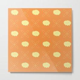 Orange flower pattern Metal Print