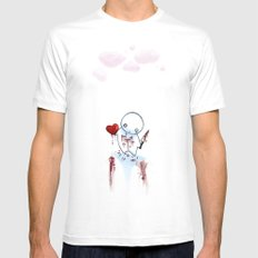 No Heart, No Pain. White Mens Fitted Tee MEDIUM