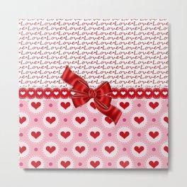 Sweet Love Red Hearts Metal Print