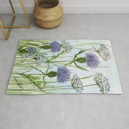 Thistle White Lace Watercolor Rug