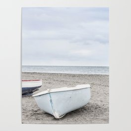 Lonely boats at the beach Poster