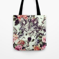 Floral Wolf Tote Bag