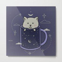 Cat in a galaxy mug Metal Print