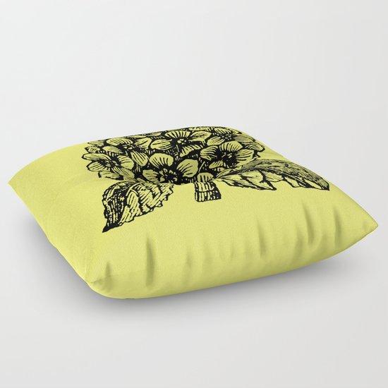 Yellow Hydrangea Floor Pillow