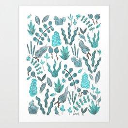 blue succulents Art Print