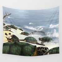 turtles Wall Tapestries featuring Turtles by nicky2342