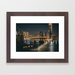 Manhattan Bridge Glow Framed Art Print
