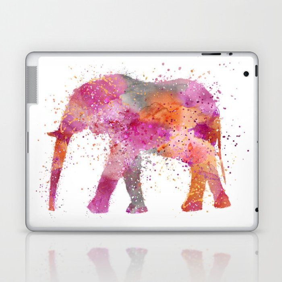 Artsy watercolor Elephant bright orange pink colors Laptop & iPad Skin