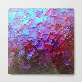 MERMAID SCALES - Colorful Ombre Abstract Acrylic Impasto Painting Violet Purple Plum Ocean Waves Art Metal Print