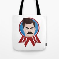 ron swanson Tote Bags featuring Ron Swanson by creative.court