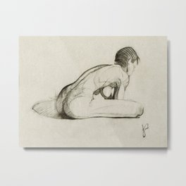 Female Nude Figure Charcoal Drawing Leaning Over Thinking Black and Beige Metal Print
