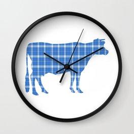 Cow: Light Blue Plaid Wall Clock