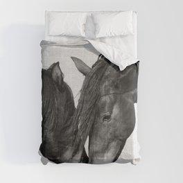 Horses - Black & White 4 Comforters