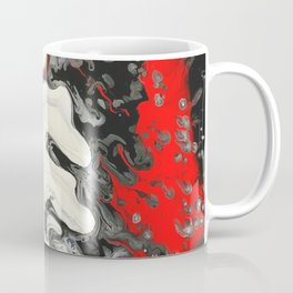 Black Red White Fluid Marble Painting Abstract Art Coffee Mug