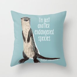 Huillin otter Throw Pillow