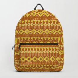 Mudcloth Style 2 in Burnt Orange and Yellow Backpack